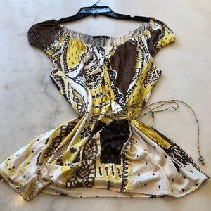 Elie Tahari tribal print silk NWOT cap sleeve. L